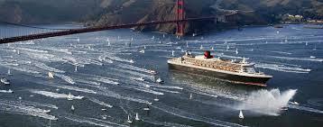 Cunard Ship Under Golden Gate Bridge A